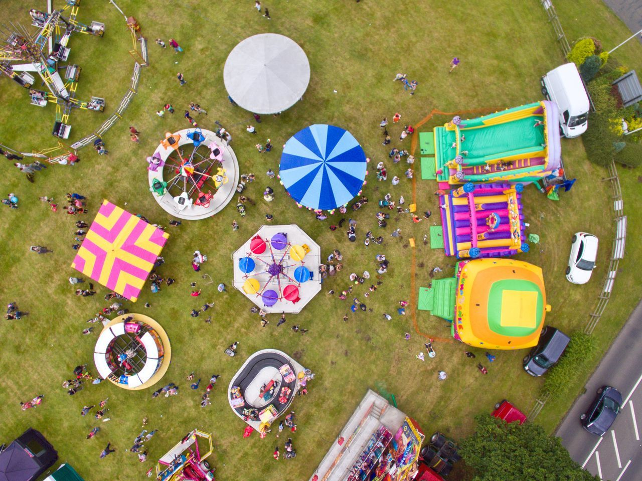 high angle view, directly above, outdoors, day, fun, no people