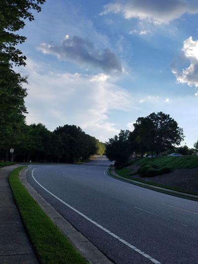 Road Tree Cloud - Sky No People Outdoors Day Sky Street No Cars  Blue Calm