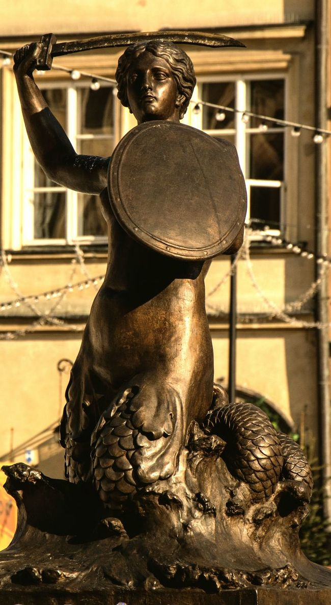 Warsaw Old Town Mermaid Bronze Statue City Symbols Beauty Streetphotography