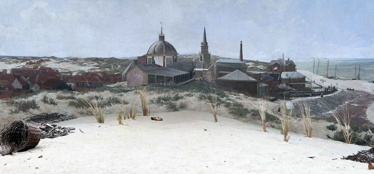 Scheveningen, fishermen's life in 1880 painted by Mesdag 1880 Day Dunes Fishermen Fishermen's Life Historic Historical Sights Mesdag Museum Outdoors Painting Panoramic View Panorma Mesdag Scheveningen  Tourism Tourist Attraction  View