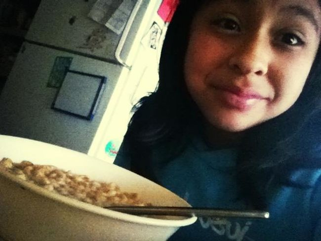 Eating Cereal.