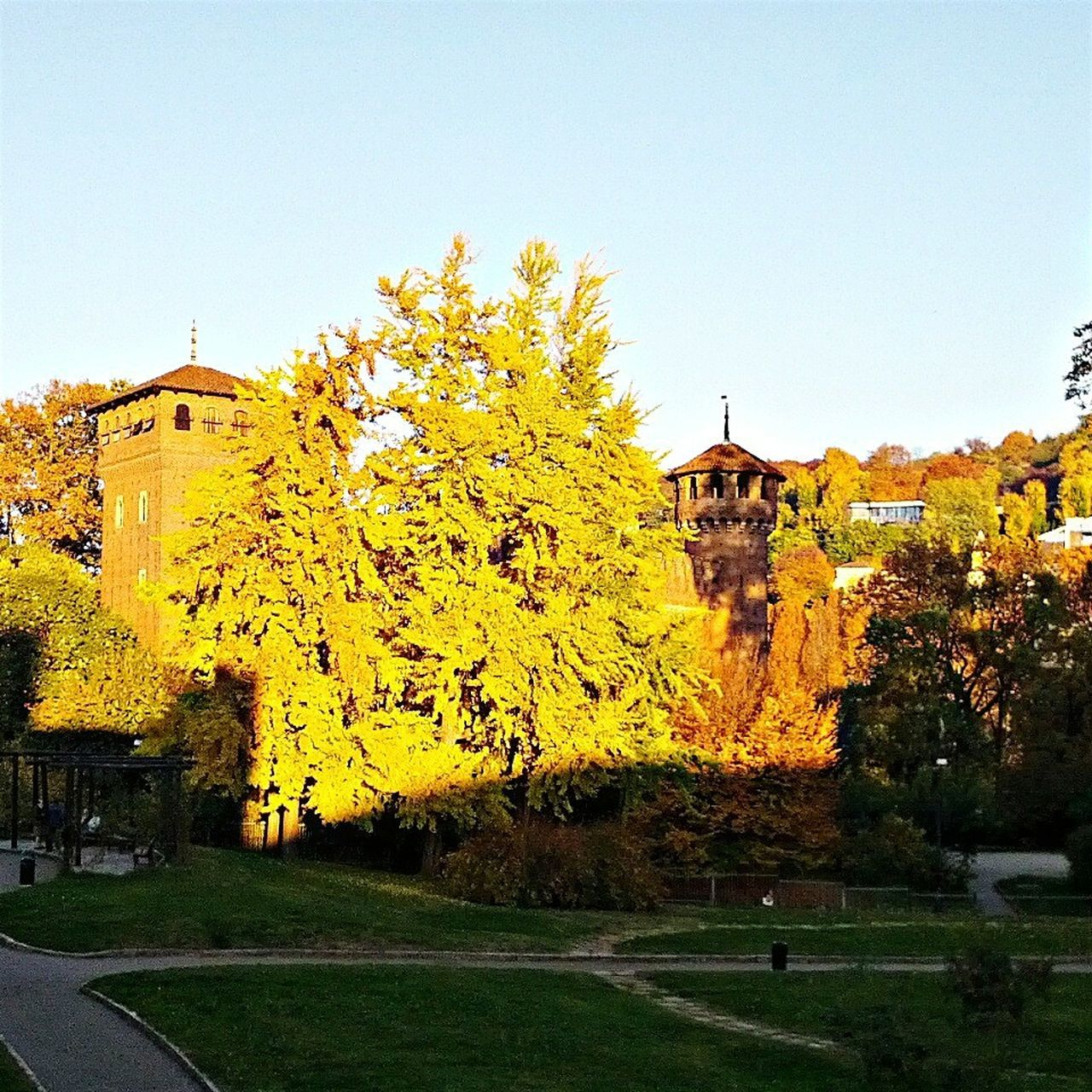 Torino Castellomedievale Colorful Autumn Colors Sunlight Shadows Castle Medieval Architecture Parcodelvalentino
