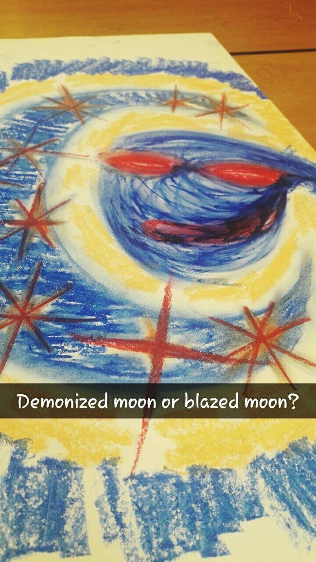 Demonized Moon or... Blazed Moon Abstractoilpastel Abstract Oilpastel Art Mymind