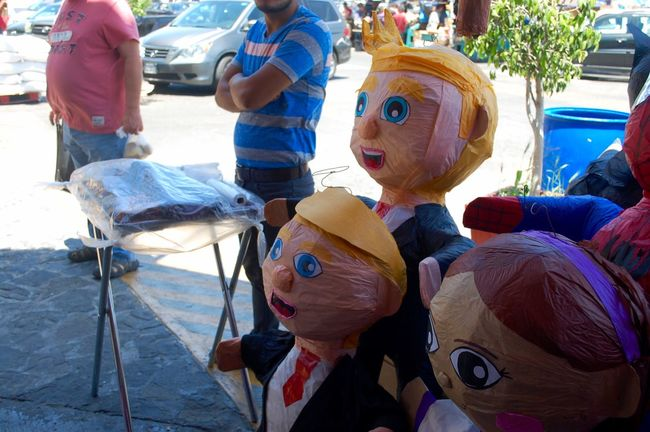 Boys Casual Clothing Day Donald Trump Enjoyment Fun Funny Leisure Activity Lifestyles Medium Group Of People Outdoors Piñata Playing Vacations