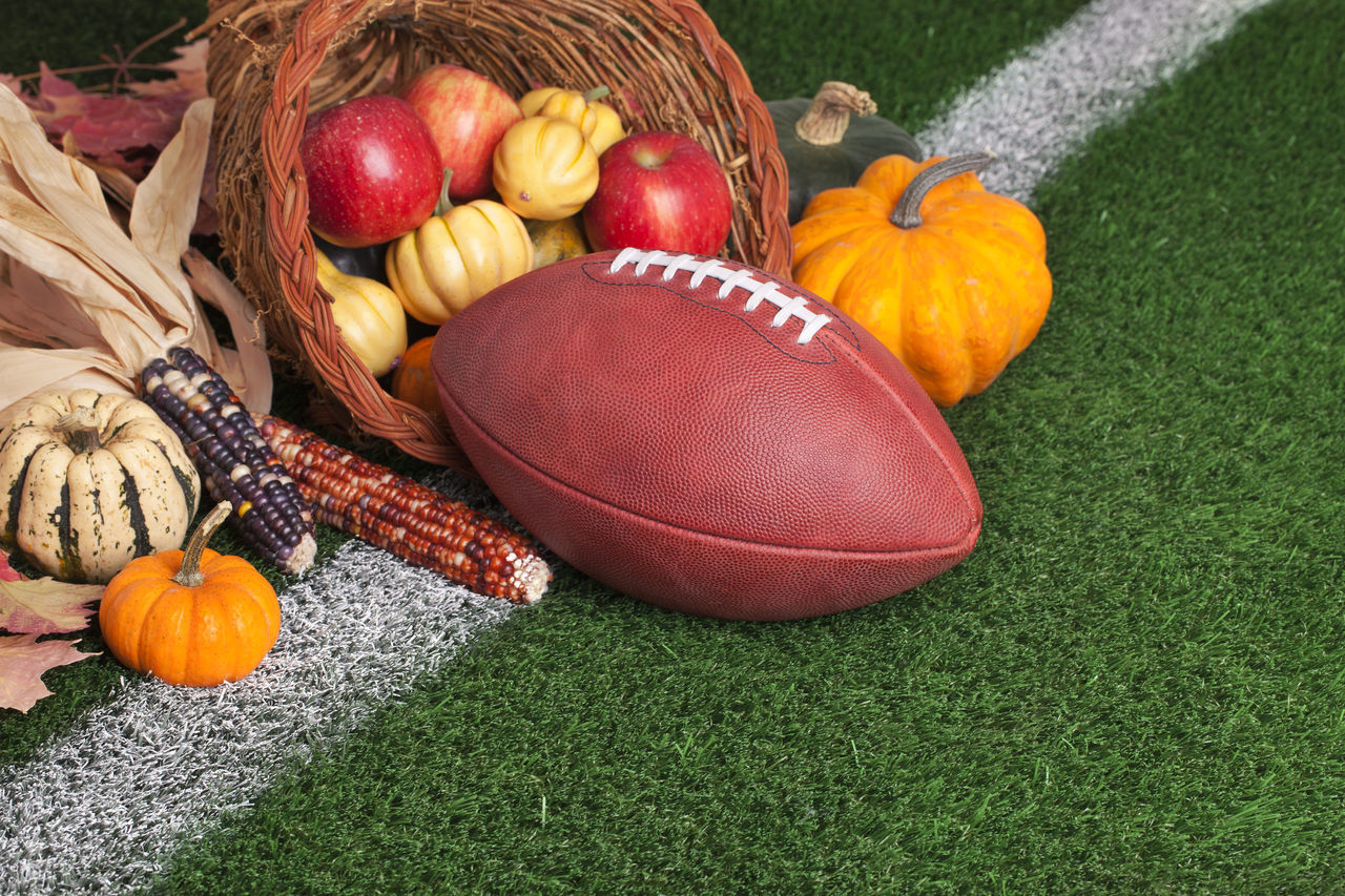 Apple Autumn Basket Corn Cornucopia Football Grass Green Color Harvest Leather No People Orange Professional Red Squash Turf Yard Line Yellow