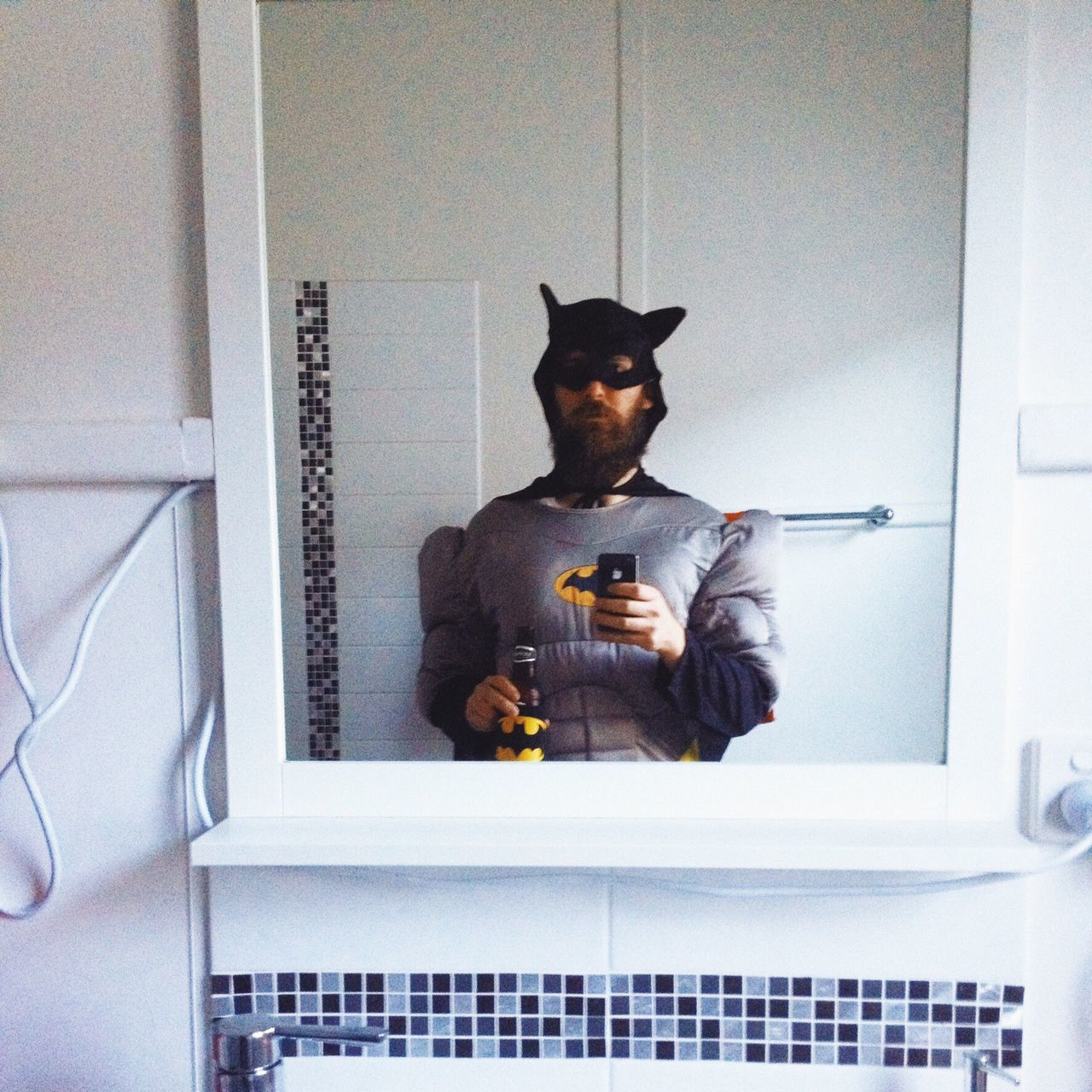 Young Adult Home Interior Indoors  Batman Selfie Bathroom Selfie Bathroom Pic Beer Funnyshit  Dressup Loser Best Dressed One Man Only HERO Superhero Drinking Party Beard Hipster Dressups Fancy Dress Costume Unfit Outofshape