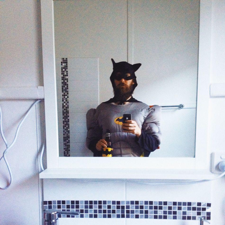 Young Adult Home Interior Indoors  Batman Selfie Bathroom Selfie Bathroom Pic Beer Funnyshit  Dressup Loser Best Dressed One Man Only HERO Superhero Drinking Party Beard Hipster Dressups Fancy Dress Costume Unfit Outofshape