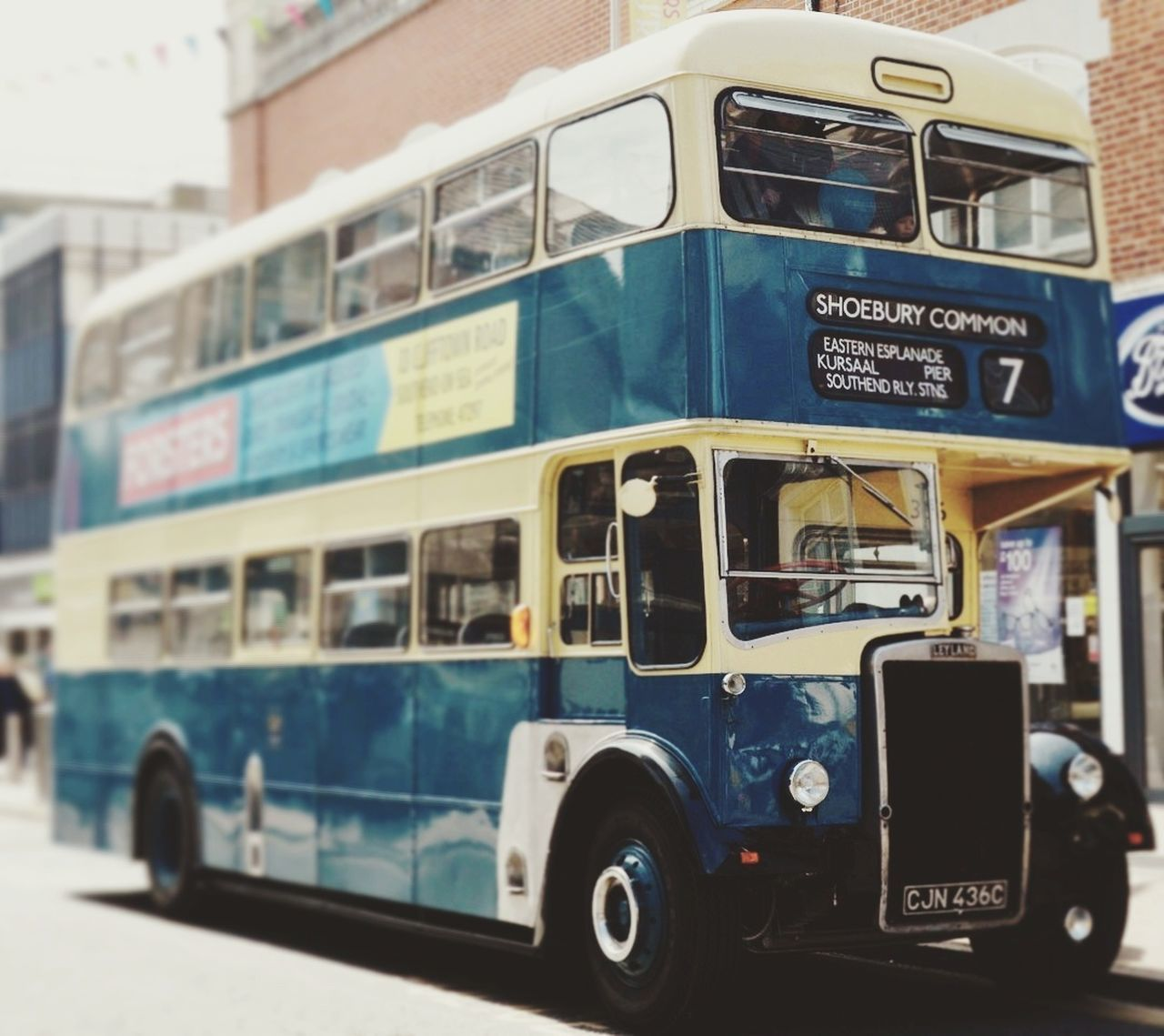 Transportation Mode Of Transport Day Public Transportation No People Outdoors Leyland Double Decker Bus Southend On Sea Vintage Cars