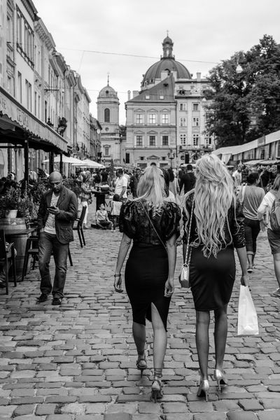 Architecture Building Exterior City Life Day Lifestyles Lviv Outdoors Rynek Street Sunset Ukraine Walking Women