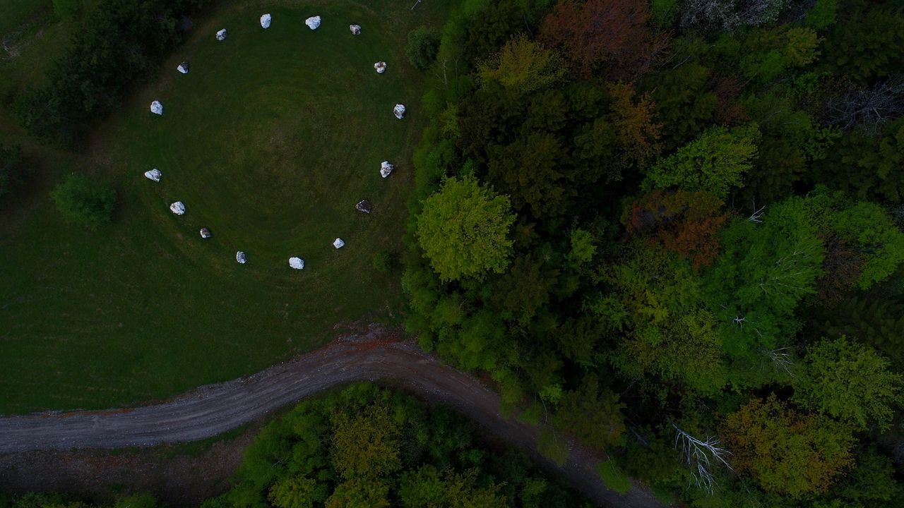 Beauty In Nature Outdoors Crystal Quartz Circle Ritual Spirituality Flying High Dronephotography No People Nature Tree