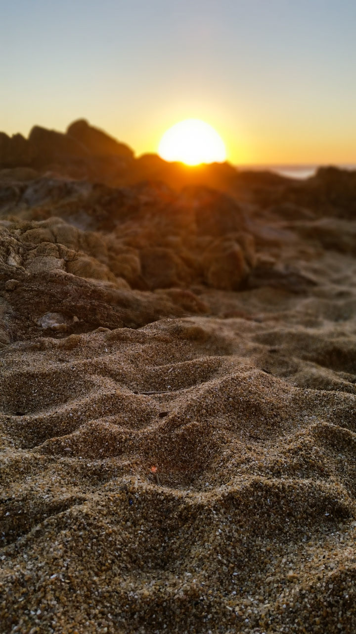 Surface Level Of Sand At Sunset