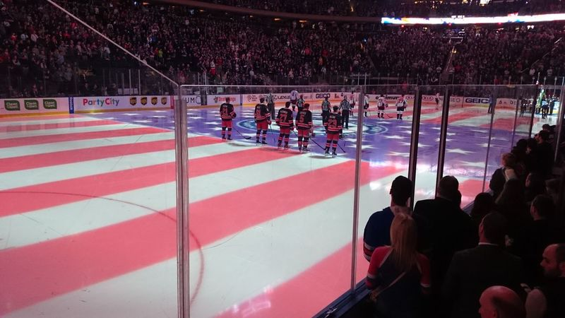 Crowd Flag Hockey Madison Square Garden Rangers Red Stars And Stripes Flag US Flag USA
