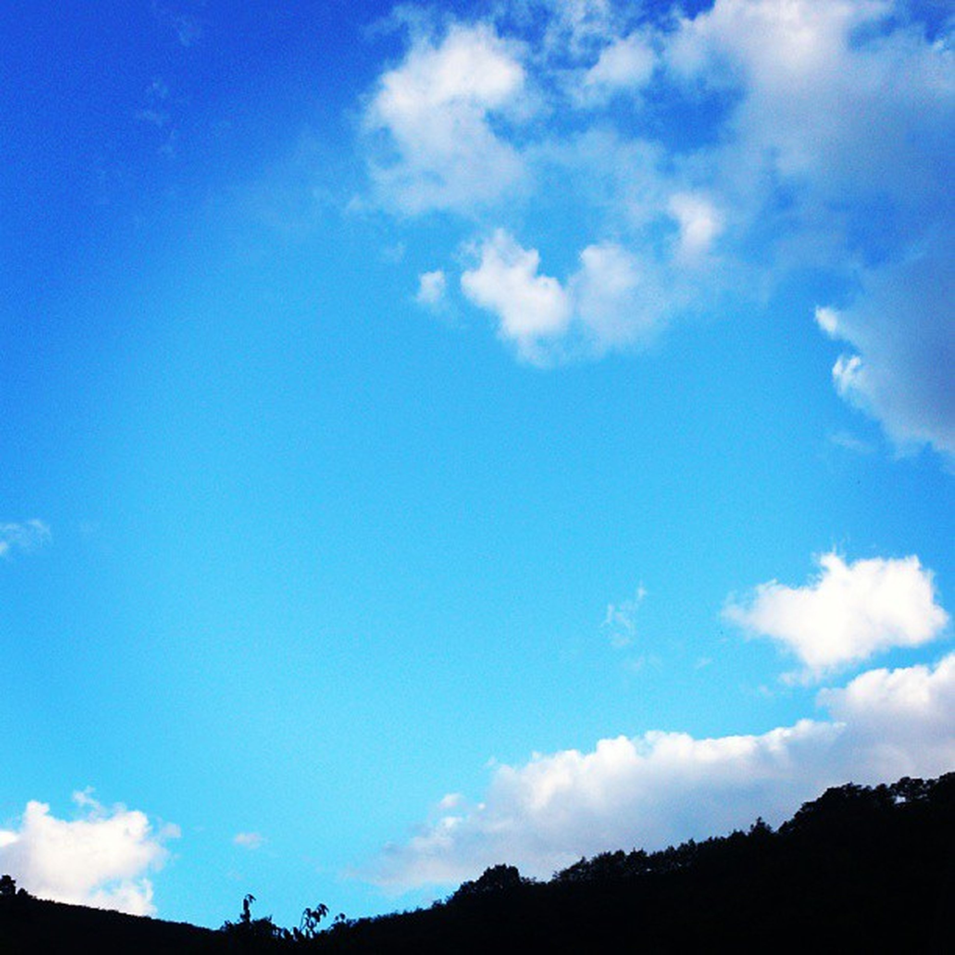sky, blue, low angle view, cloud - sky, tranquility, beauty in nature, cloud, tranquil scene, scenics, nature, silhouette, tree, cloudy, outdoors, day, idyllic, no people, mountain, cloudscape, sunlight