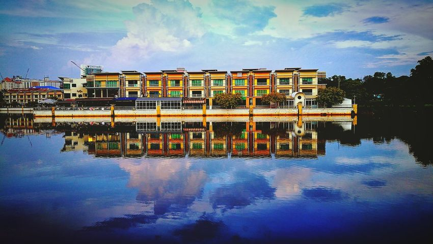 My Year My View Reflection Water Symmetry Sky Reflection Lake Building Exterior Outdoors Lake Cloud - Sky Waterfront Tranquility No People Multi Colored Nature Scenics Architecture Huaweiphotography Huaweimobile Huaweimobilemy HuaweiP9plus Leicatechnology Mobilephotography Mobilephographer City