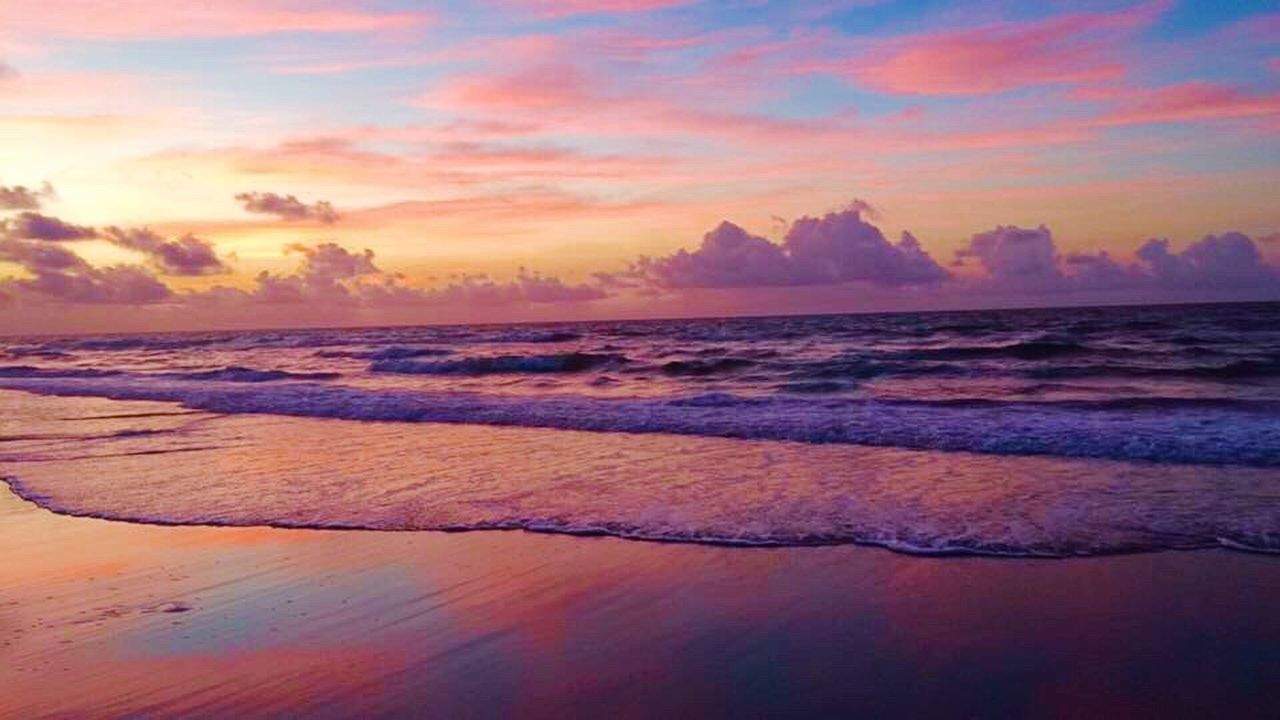 Beach Ocean Sea Ocean View Sunset Waterfront Water Reflections Sand Sand & Sea Florida Myrtle Beach SC Tranquil Scene Tranquility Horizon Over Water Shore Cloud - Sky Orange Color Non-urban Scene Calm Seascape Majestic Beauty In Nature Sky Wave Scenics
