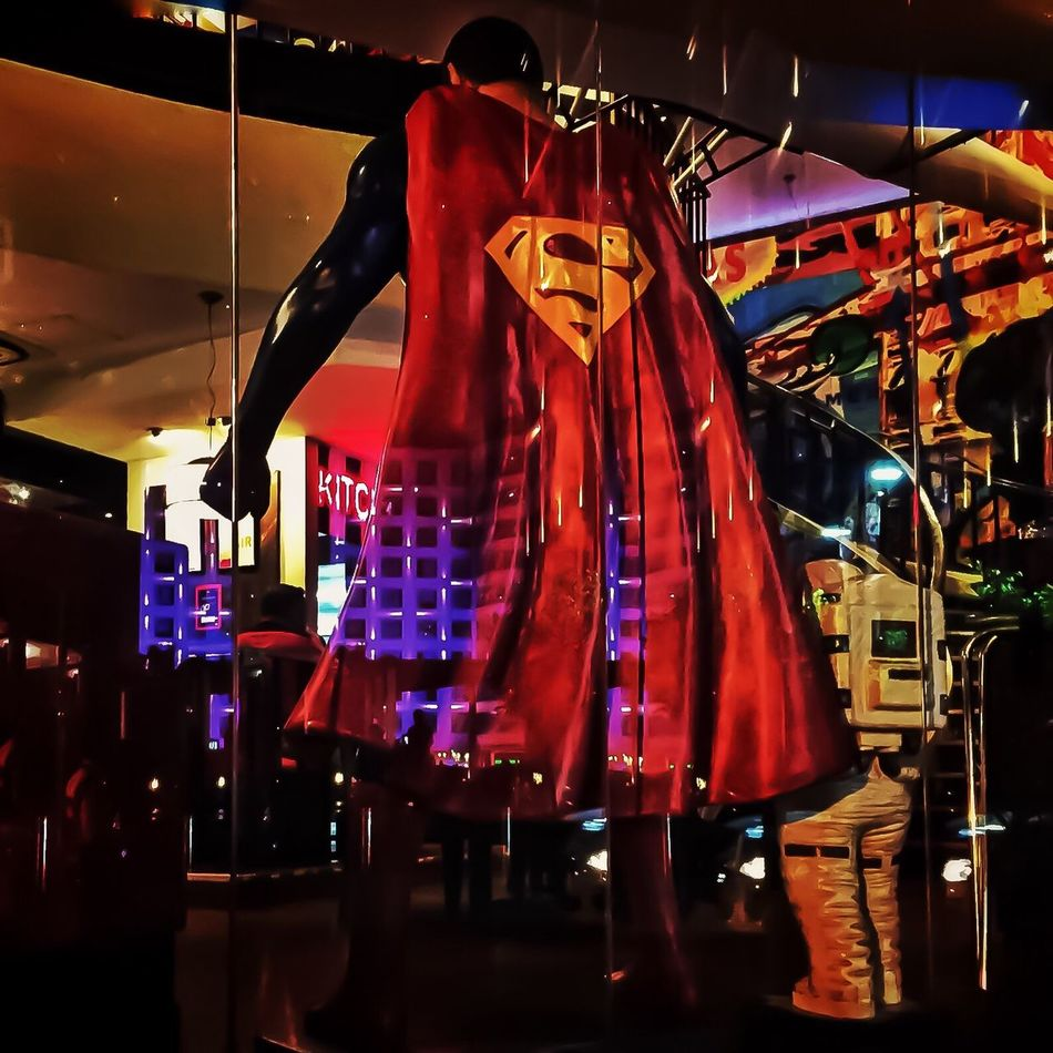 Superman Sighting LLLimages Night Photography Iphonephotography Iphoneonly Iphone6 Window Shopping Savetheplanet Save The Planet Save The World Superman SuperMan ❤ Super Heroes