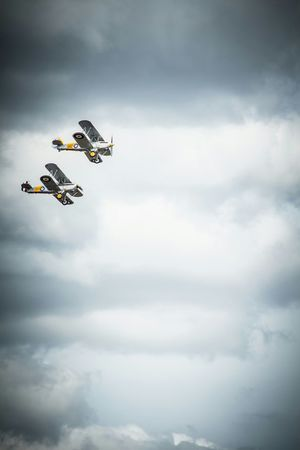 The last 2 flying Gloucester Gladiators... Not the few, two Flying Legends Battle Of Britain EyeEm Best Edits 1940s Iwm Duxford Air Show Canon Eos 650D Clouds And Sky Raf