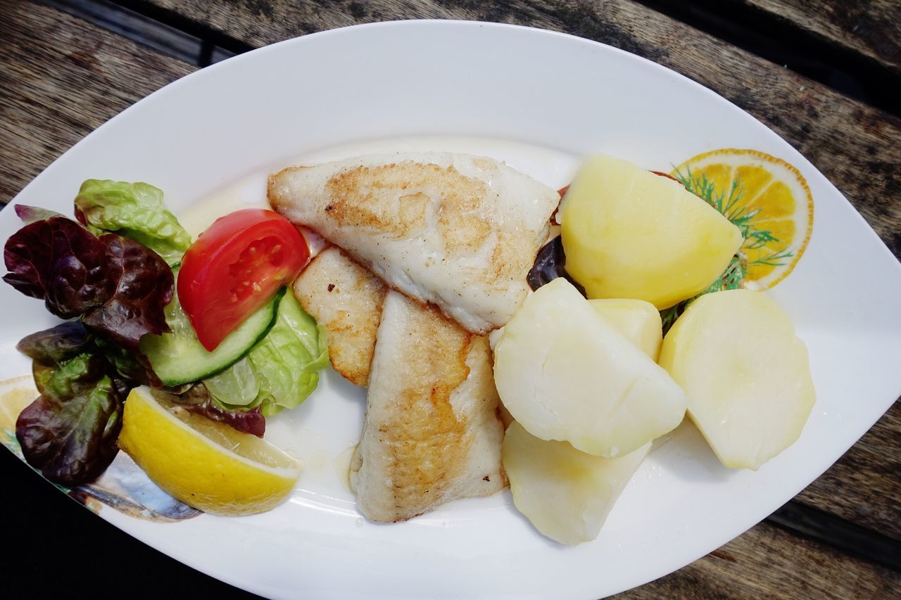 Food And Drink Healthy Eating Food High Angle View Ready-to-eat Seafoods Grilled Fish Pan Outdoors
