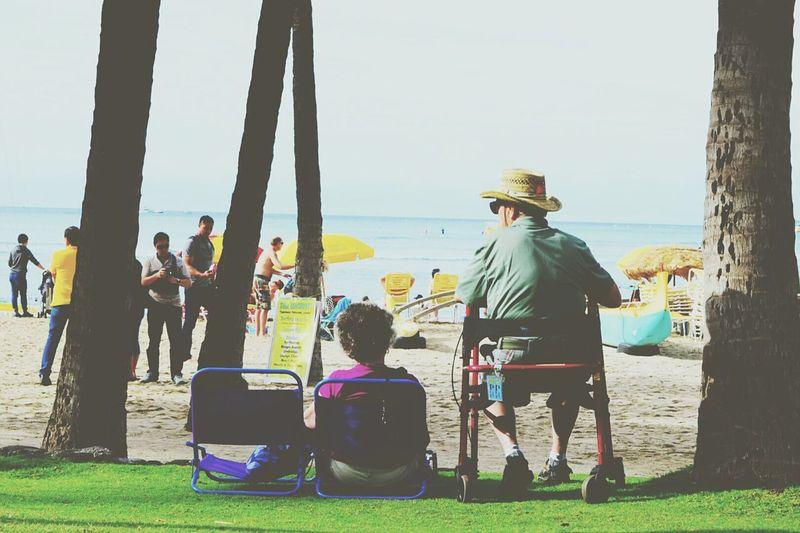 """Thinking out loud"" by Ed Sheeran Everyday Joy Love Elderly Couple Open Edit Sunlight at Waikiki Beach , Hawaii"