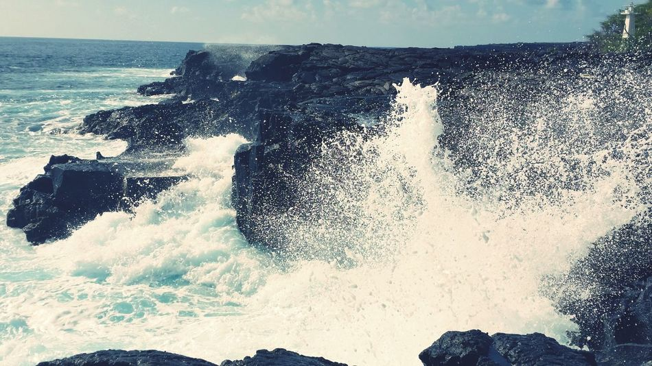 Waves Napo'opo'o Lava Rocks Hawaii