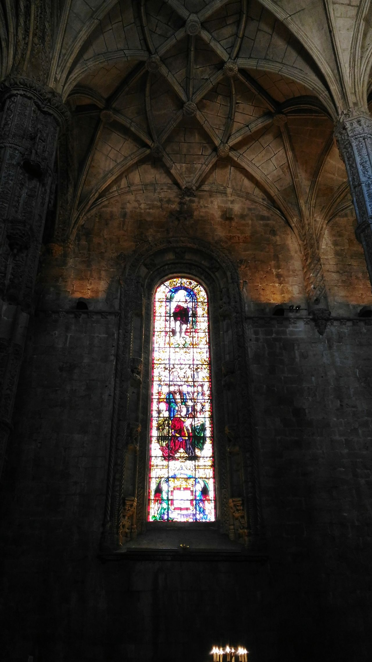 Religion Place Of Worship Spirituality Stained Glass Low Angle View Window Built Structure No People Architecture Rose Window Indoors  Day Lisboa Portugal Old Monastery Mosteiro Dos Jerónimos Place Of Worship Architectural Column Architecture