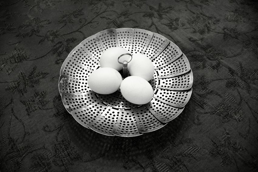 Eggs In A Basket Food And Drink Still Life Food Monochromatic Silver  Strainer No People Indoors  Food Colander Close-up Egg Eggs... Fragility Still Life Monochrome Photography Eggs In Shell High Angle View