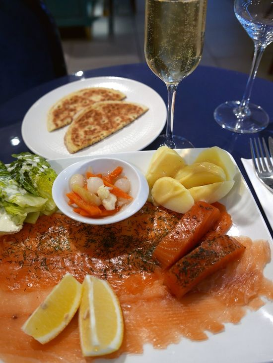Smoked Salmon  Salmon Roe Champagne Blinis Restaurant France