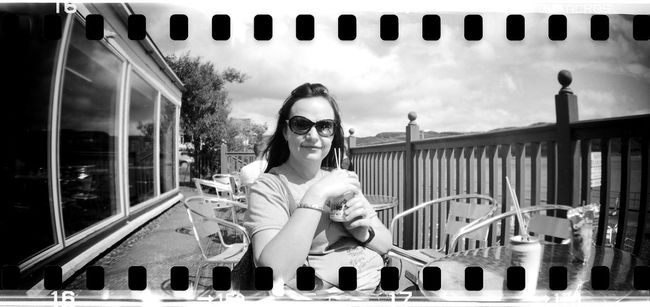 Black And White Casual Clothing Day Film Photography Front View Lifestyles Lomo Lomography Outdoors Portrait Portrait Of A Woman Sprocket Rocket Panorama