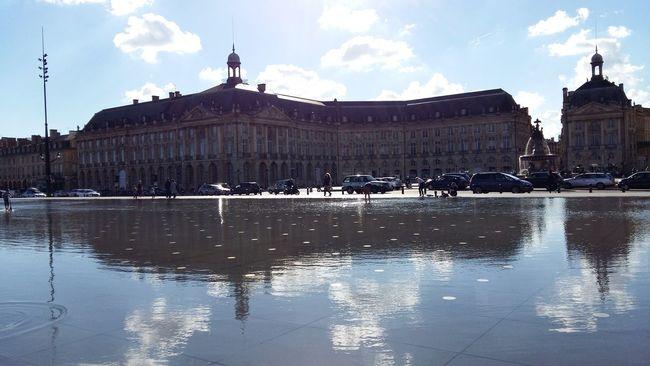 Bordeaux Miroir D'eau Place De La Bourse Reflection Sky Water Horizontal Architecture Cloud - Sky No People