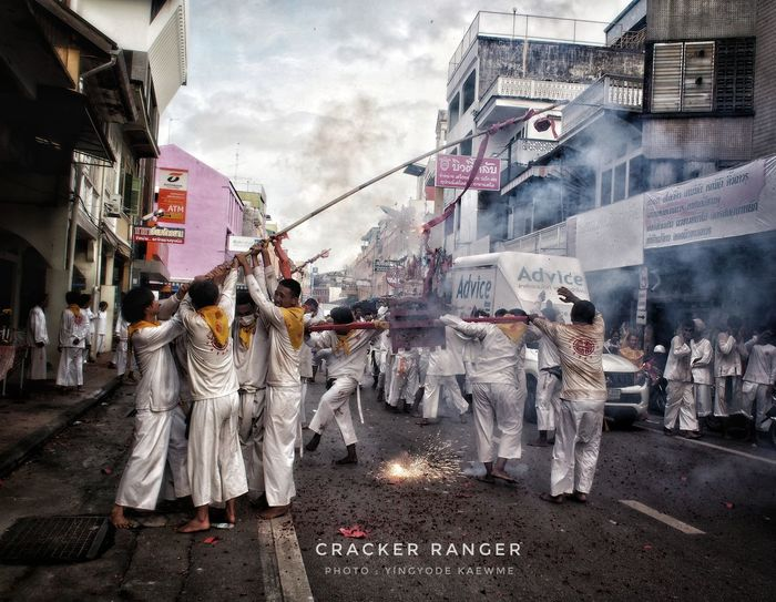 Vegetarian Festival Men Crackers Rangers White Clothes Parade Red Floor Holy Faith Chinese Traditional Culture Trang Downtown