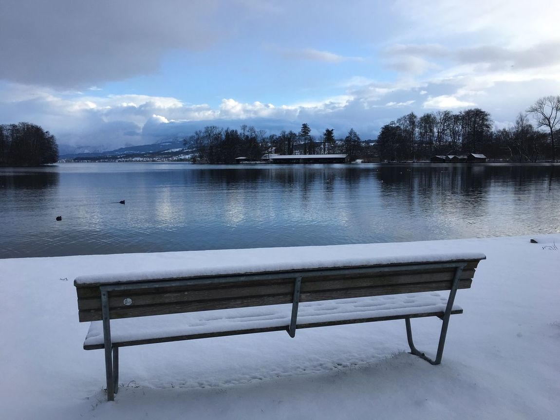Water Lake Nature Bench Sky Snow Winter Beauty In Nature Cold Temperature Scenics No People Tree Day Outdoors