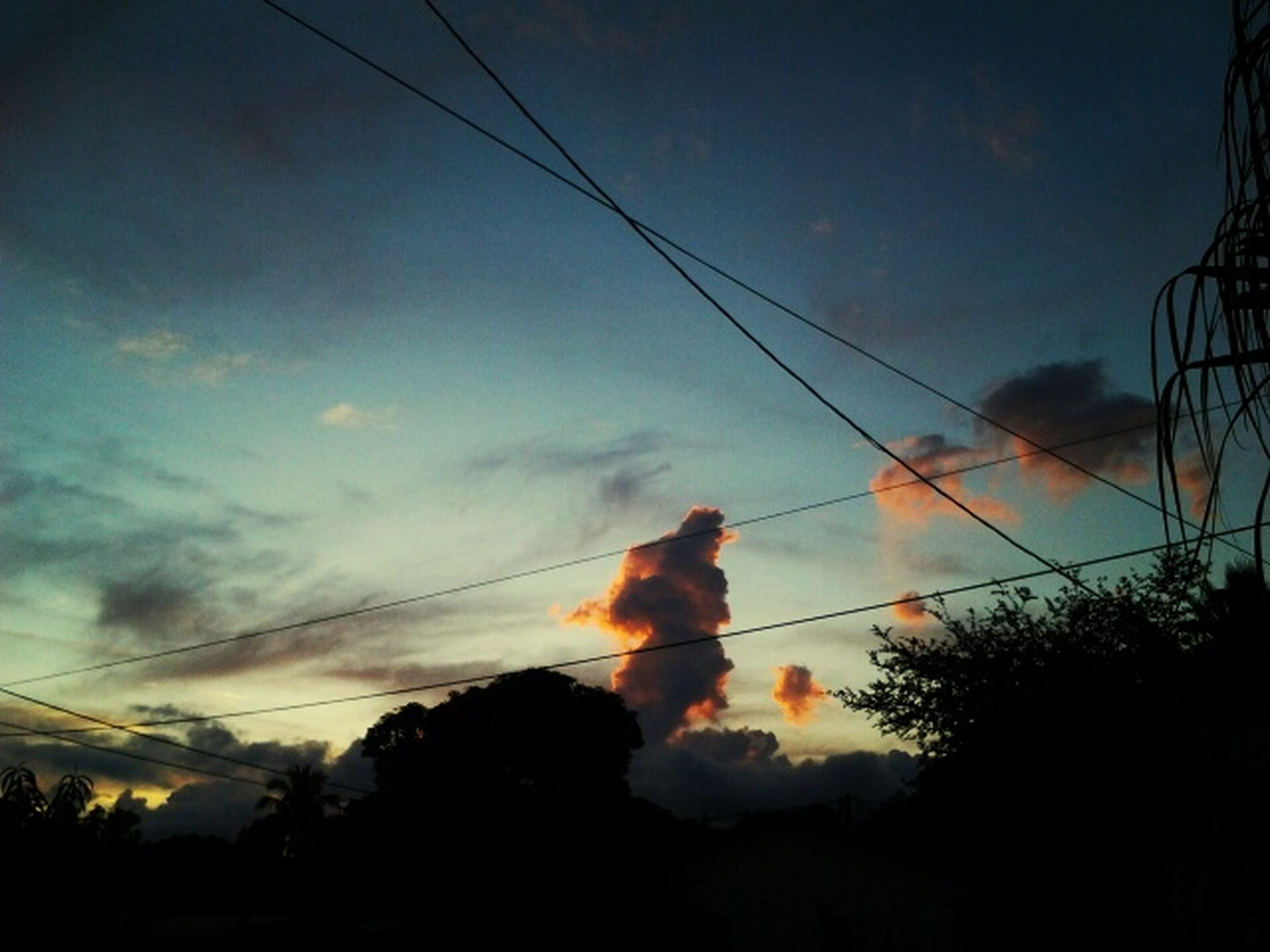 sky, power line, cloud - sky, low angle view, silhouette, sunset, electricity pylon, cable, cloud, tree, power supply, electricity, nature, dusk, beauty in nature, cloudy, no people, outdoors, tranquility, scenics