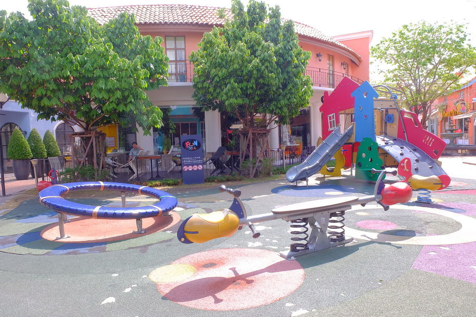 playground in the circle bangkok Shopping Mall Community Mall Playland Colorful Multicolor Playground Blue Sky Sky Sky And Clouds Cloud Modern Architecture European Style Architecture Outdoors Tree City Day