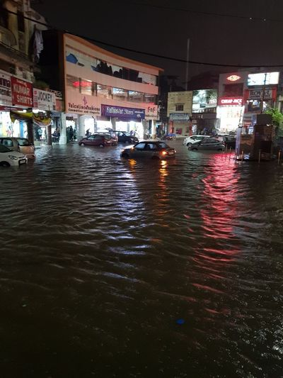 Monsoon Heavy Rain Cars Submerged Hyderabad 2 Oct 2017