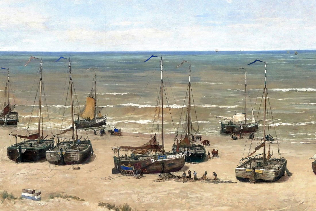 Scheveningen, fishermen's life in 1880 painted by Mesdag 1880 Beach Day Fishermen Fishermen's Life Fishing Fleet Historic Historical Sights Mesdag Museum Outdoors Painting Panoramic View Panorma Mesdag Scheveningen  Sea Tourism Tourist Attraction