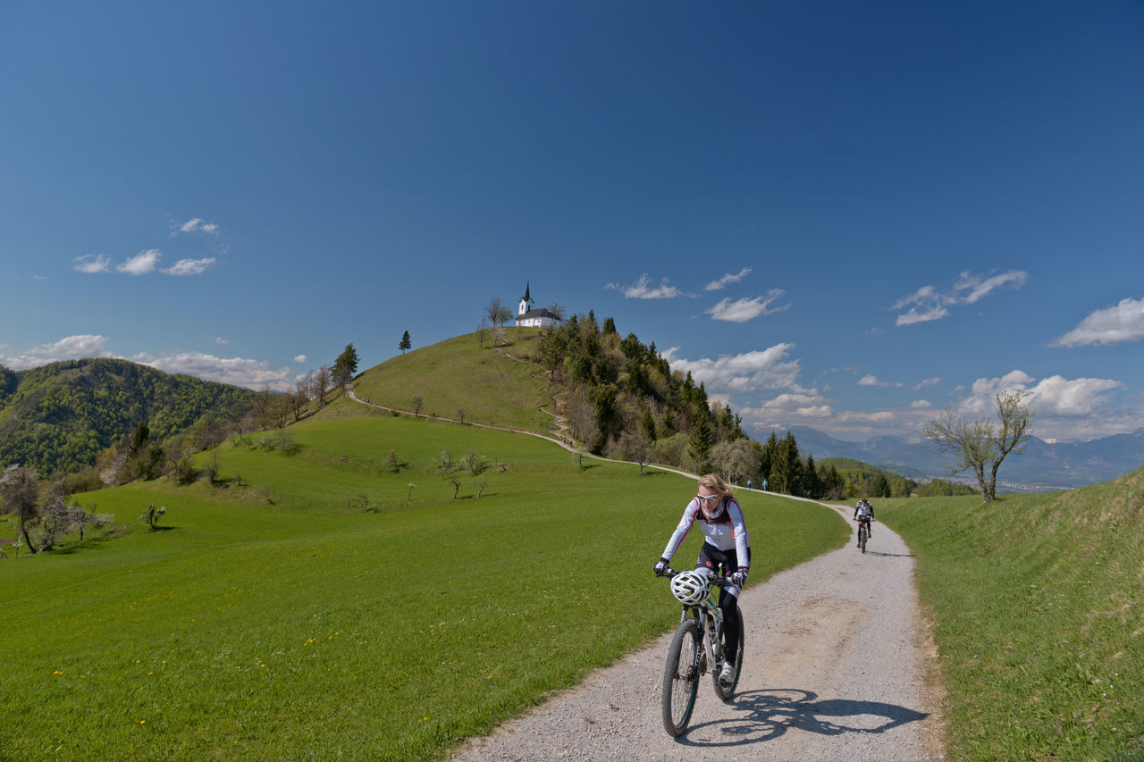 Adventure Beauty In Nature Bikers Blue Sky Church Day Free Ride Freedom Grass Green Color Green Grass Katarina Mountain Mountain Bike Mountain Biking Mountain View MTB Nature Sky And Clouds Spring Sveti Jakob Tranquil Scene Tranquility Tranquility Way Up