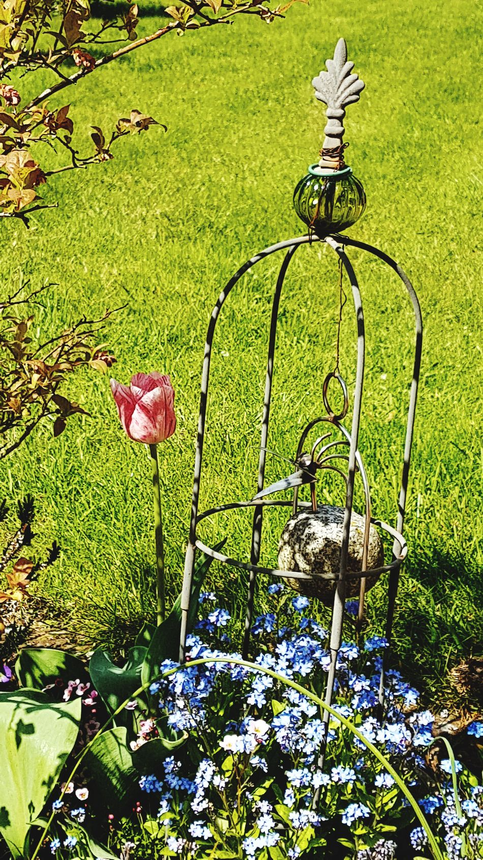 Garden Photography Green Color No People Garden Decoration Outdoors Growth Grass Beauty In Nature Tulip Forget Me Not Springtime Spring Flowers Bird Made Of Steel And Stone