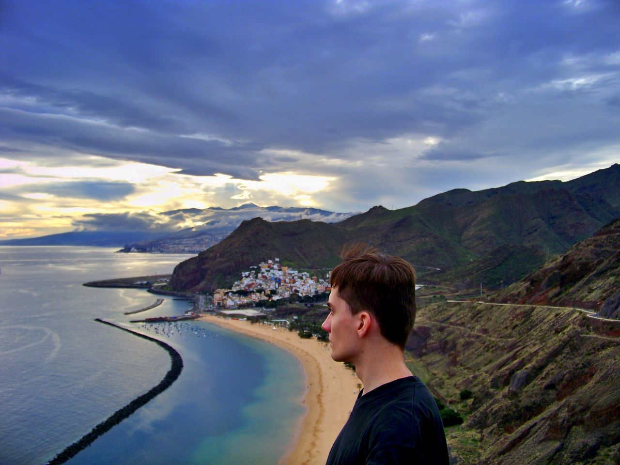 Beach Clouds And Sky Colorful Enjoying The View Las Teresitas Me Men Mountain Range Mountains My Year My View One Man Only Only Men Sea Sea And Sky Seaside Shore Sunlight Sunset Tenerife Travel Destination Travel Destinations Traveling Vacations Viewpoint Young Adult