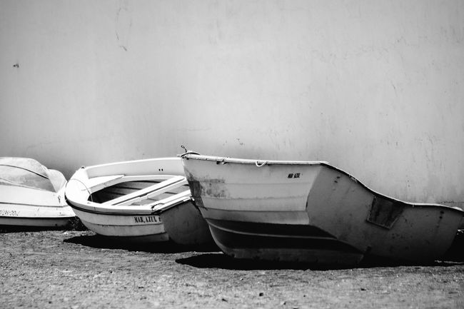 Boats Boat Boats Open Edit No People Blackandwhite Black & White Monochrome Minimalism Minimalobsession Minimalism_bw Seascape Seaside Empty Abandoned Original Experiences Feel The Journey Outdoors Fuerteventura Canary Islands Tranquil Scene White Boat Fishing Boat Light And Shadow Daytime Close-up