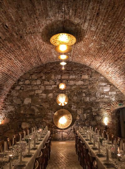 Castle Astonishing Erbach Castle Light Mindblowing Beautiful Gold Colored Illuminated Lighting Equipment In A Row Indoors  Ceiling Arch Candle Light Bulb Architecture