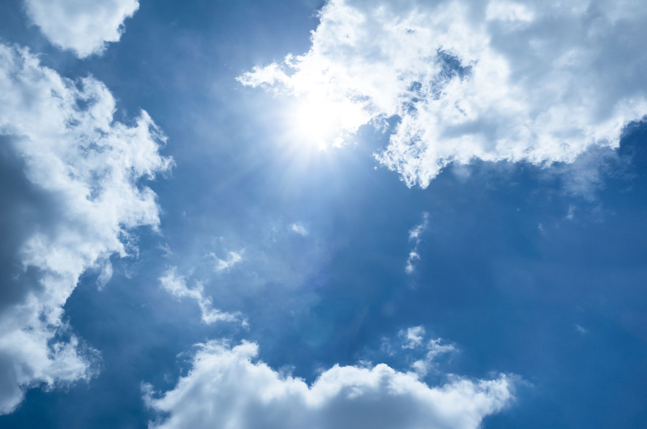 Backgrounds Beauty In Nature Blue Cloud - Sky Day Low Angle View Nature No People Outdoors Scenics Sky Sky Only Sun Sunbeam Sunlight Tranquility Weather