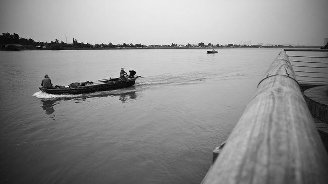 River View Boat Taking Photos Enjoy The View Black & White Holiday
