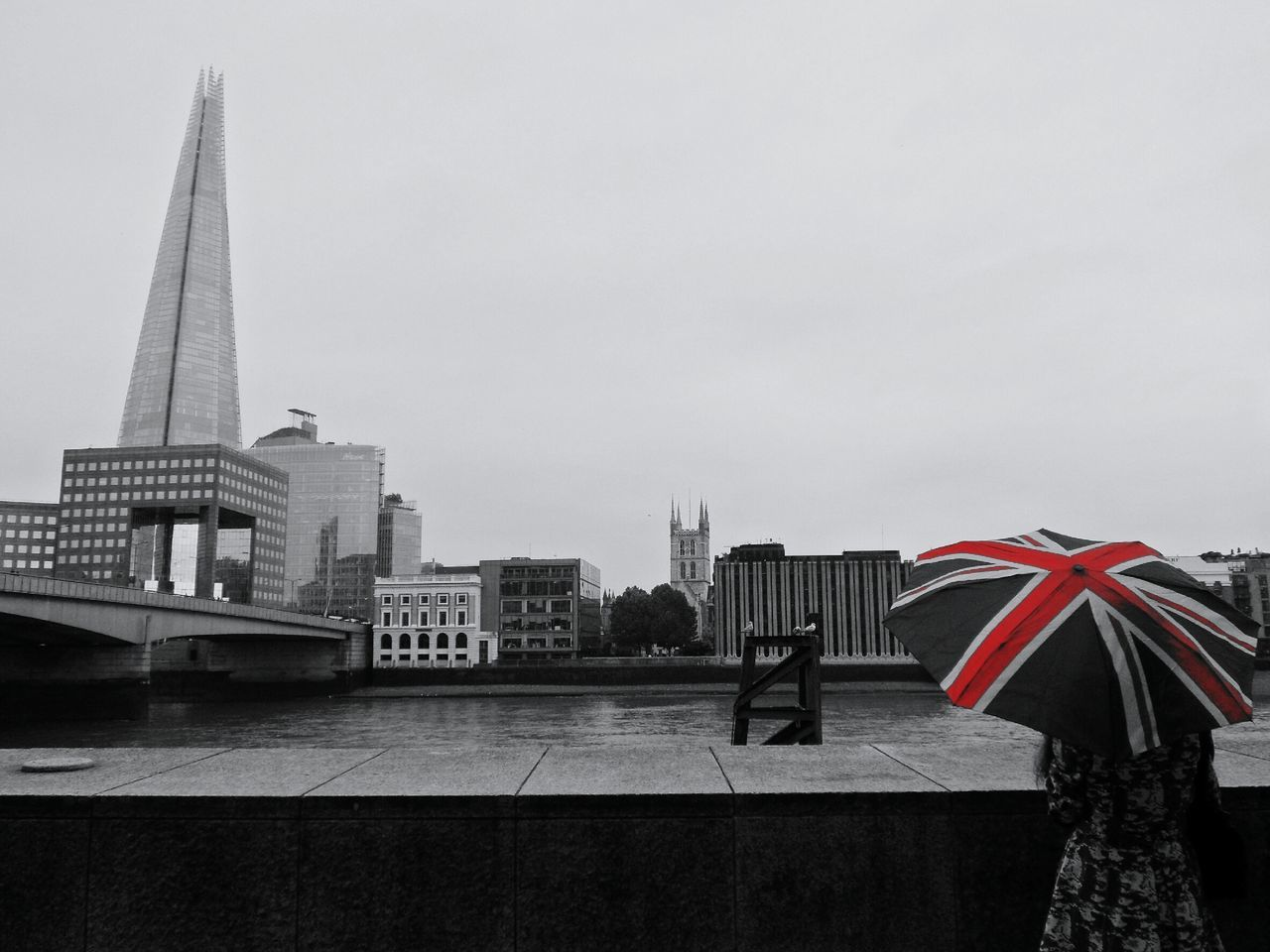 Enjoying the view Architecture Tall - High British Culture Union Jack Umbrella Woman Adults Only People Connection Outdoors Travel International Landmark Capital Cities  Travel Destinations Cityscapes Building Exterior Bridge - Man Made Structure London Incidental People River Thames Black And White City Tourism Day Showcase June