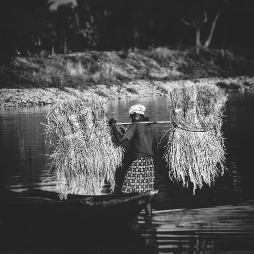 One Person Water Agriculture Asian Style Conical Hat Outdoors People Lake Adult Adults Only Real People Occupation Day Full Length Only Women One Woman Only Nature