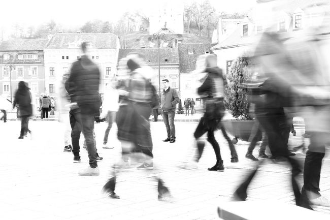 Brasov, Romania Acceleration Agitation Black And White Blurred Motion City City Life City Street Different Perspective Fine Art Photography Getting Creative Getting Inspired Group Of People Large Group Of People Lifestyles Medium Group Of People Moving Forward  People In Motion People In My World The Street Photographer - 2016 EyeEm Awards The Week On Eyem Time Is Passing By Time Is Running Out On The Way