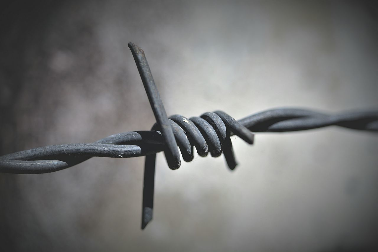 Security Barbed Wire Metal Protection Strength Safety Fence Close-up Sharp Prison Separation Forbidden No People Outdoors Prison Bars Day