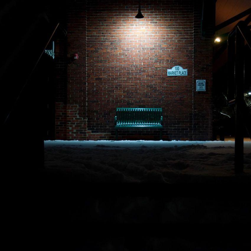 The green seat. Illuminated Brick Wall No People Dark Nightphotography Bench Farmersmarket Ypsilanti Ypsireal