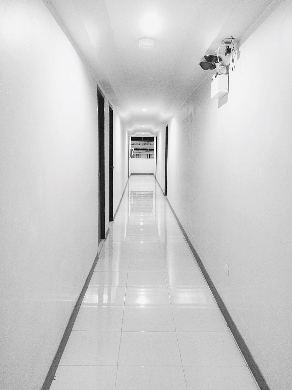lighting equipment, indoors, illuminated, corridor, the way forward, no people, architecture, hospital, prison, day