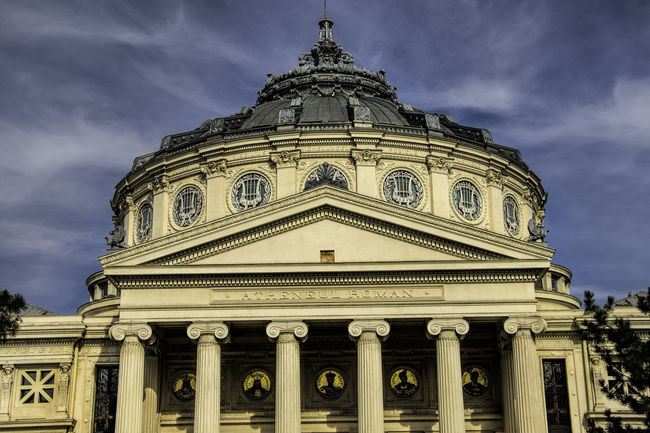 Image with Romanian Athenaeum Architecture Building Exterior Built Structure City Cloud - Sky Day Dome Government Low Angle View No People Outdoors Sky Travel Destinations