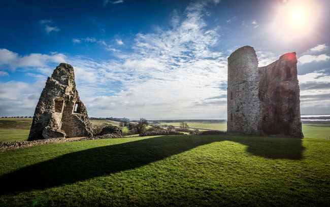 Hadleigh castle, in ruins longer than in use. Architecture Building Exterior Built Structure Castle Cloud Cloud - Sky Essex EssexCounty Grass Heritage Hill History Landscape Light Outdoors Ruined Ruins Shadow Sky Stone Stone Wall Sunflare